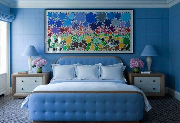 Interior-Cool-Bedroom-Design-Blue-colorful-painting-is-a-great-focal-point-in-this-cozy-bedroom