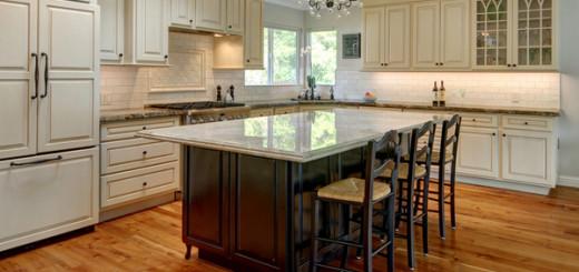 White Marble Kitchen IslandTuscan Kitchen Design Ideas with Wooden Floor