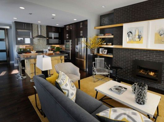 Living Room Combined With Kitchen Decoration Ideas