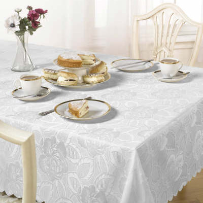 damask rose table cloth white