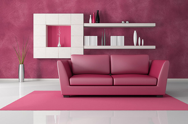 pink and black modern lounge - rendering