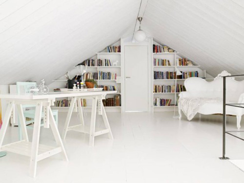 white-home-library-design
