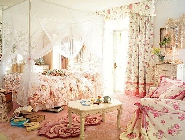 pink-bedroom-ideas-floral-wallpaper