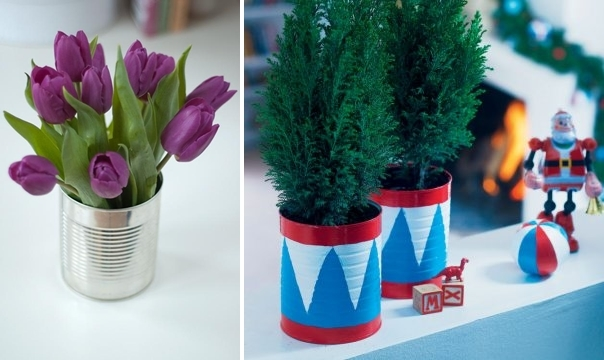creative-upcycle-tin-cans-christmas-ideas-tulips-decorated-table-centerpiece