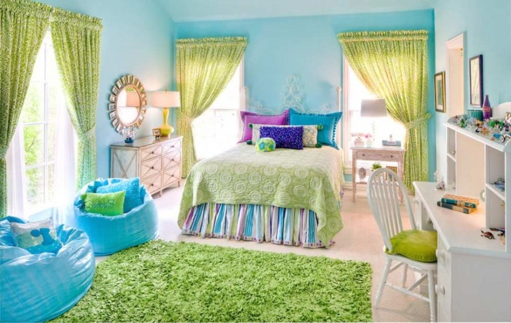 ikea-kids-bedroom-furniture-green-bed-sheet-with-assorted-color-pillow-with-blue-pouf-green-fur-rug-also-curtains-728x460