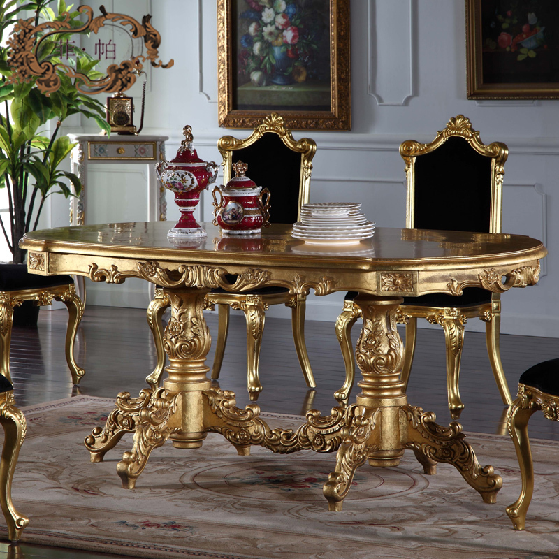 royal-classic-furniture-Handwork-Gilding-golden-foil-royalty-dining-table