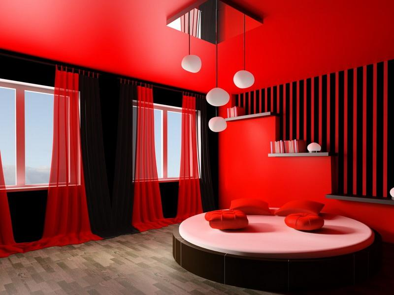 amazing-red-contemporary-bedroom-with-round-bed-also-red-pillows-also-windows-and-red-curtains-also-white-hanging-lamps-also-books-stairs-also-checkered-floor