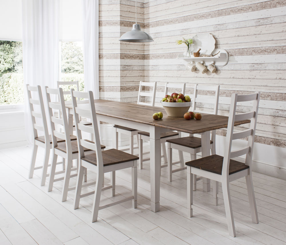 Dark-Pine-white-wood-dining-table-and-chairs-with-Extending-Canterbury-lighting-fruits-chandelier-bulbs